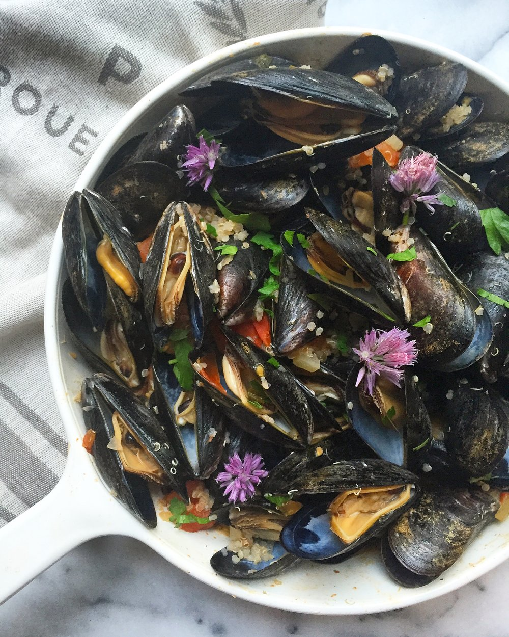 Mussels with Quinoa, Tomatoes, and a White Wine Sauce -