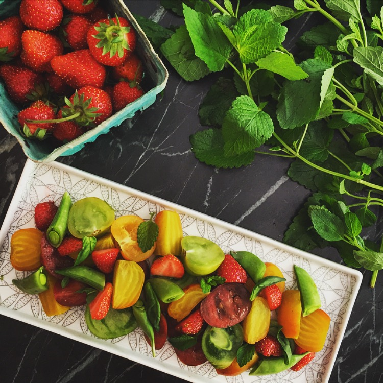 Heirloom Tomato, Beet, and Strawberry Salad -
