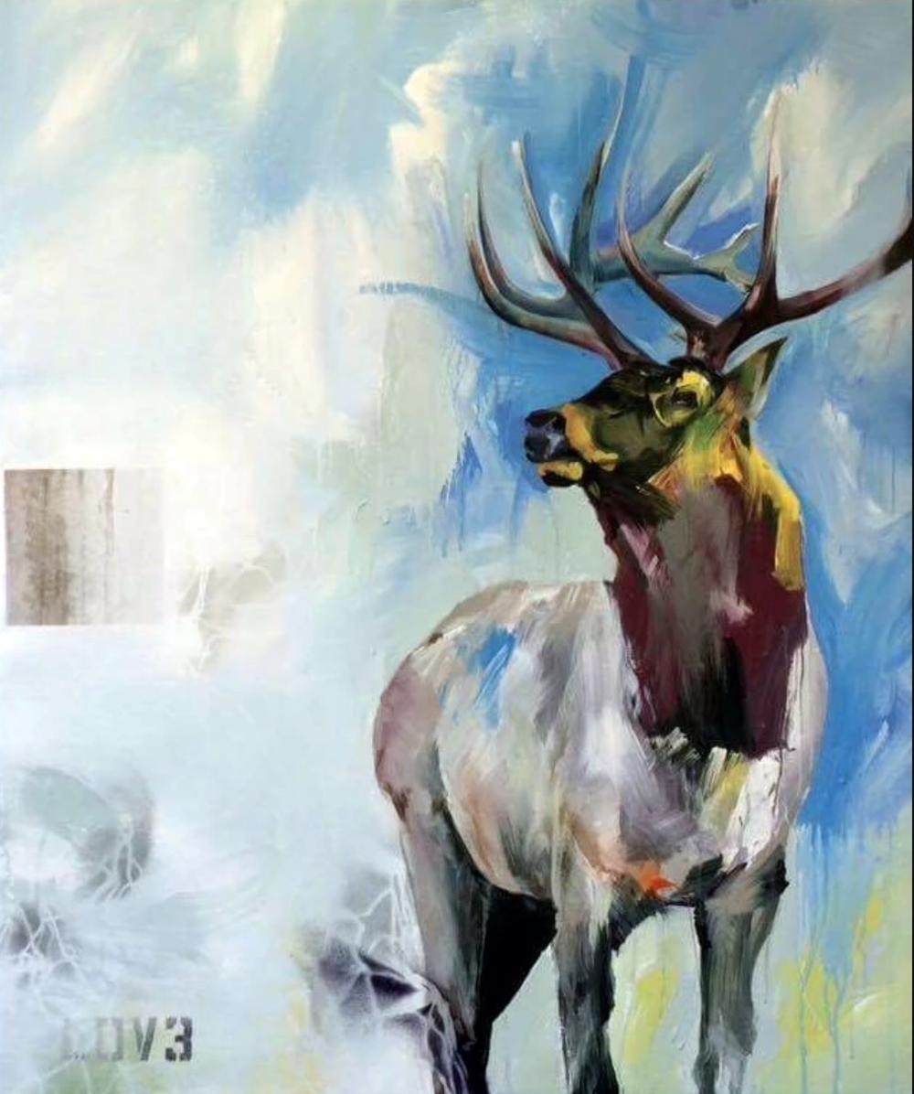 EOHL  ,    Bode Klein   32.5 x 39  Acrylique, aérosol et huile sur toile   PLUS D'INFORMATIONS