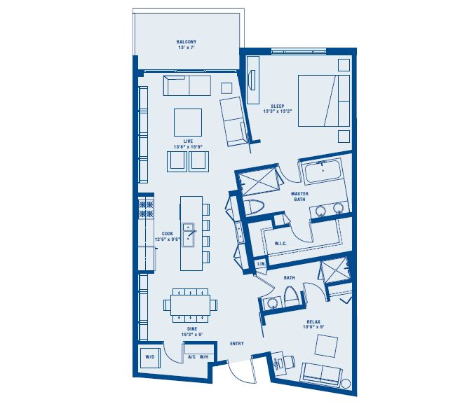 PLAN B     1 BED +DEN/1 BATH    SUITE 1134 SQ FT    BALCONY 93 SQ FT    APPX TOTAL 1227 SQ FT