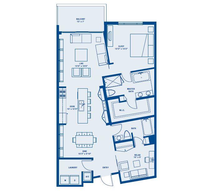 PLAN C    1 BED + DEN/2 BATH     SUITE 1237 SQ FT      BALCONY 93 SQ FT      APPX TOTAL 1330 SQ FT