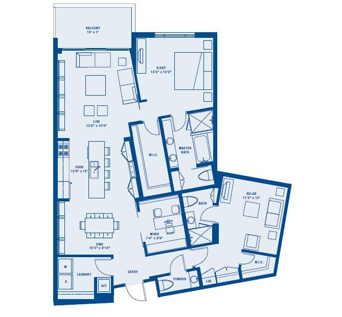 PLAN D    2 BED + DEN/2.5 BATH    SUITE 1456 SQ FT    BALCONY 93 SQ FT    APPX TOTAL 1549 SQ FT
