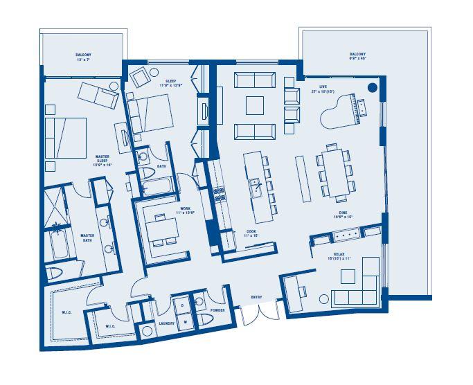 PLAN G    2 BED + DEN + OFFICE/2.5 BATH