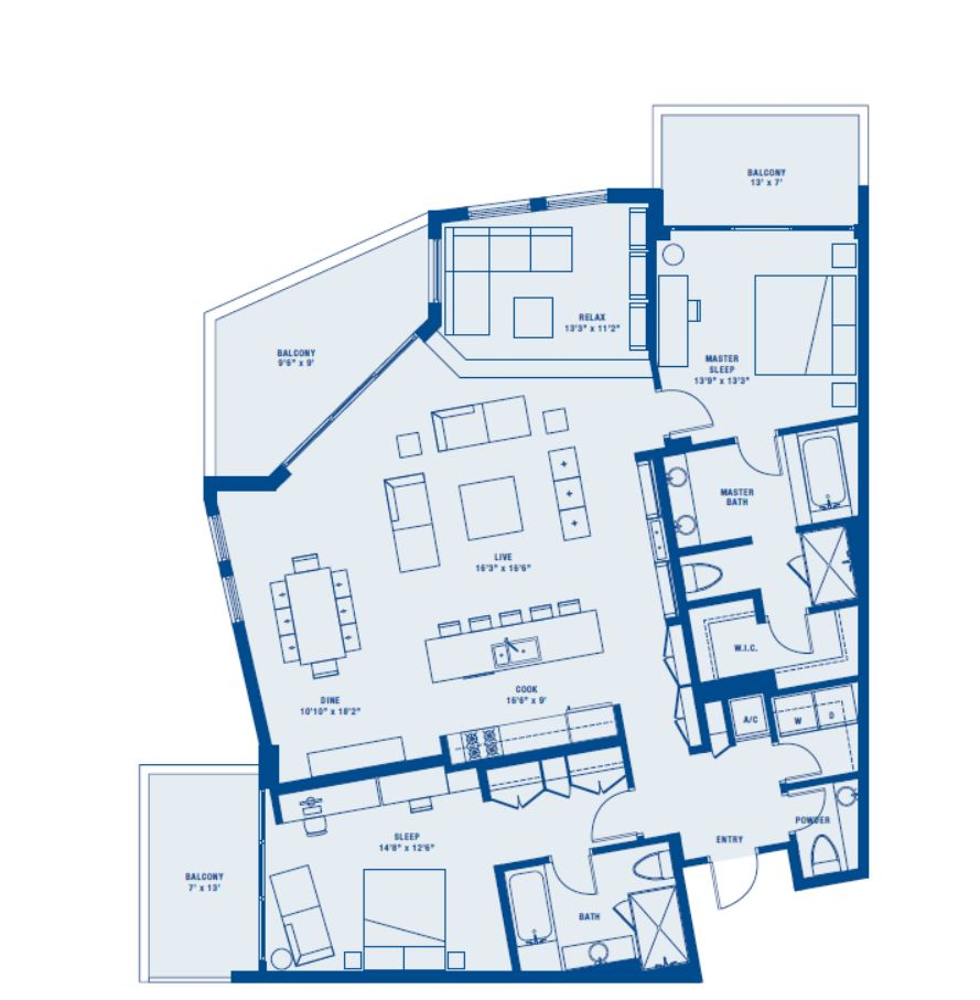 PLAN E    2 BED + DEN/2.5 BATH    SUITE 1602 SQ FT    BALCONY 310 SQ FT    APPX TOTAL 1912 SQ FT