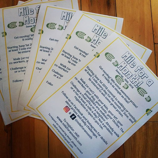 These bad boys will be flying up all around #perthON #carletonplace #westport #lanark #smithsfalls #almonte #mississippimills and everywhere in between as soon as our registration website is launched!  #mileforamonth #walk #run #roll #family #activity #makeitcount #staytuned