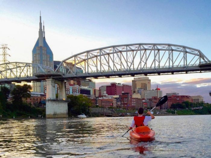 Kayak on the River in Downtown Nashville