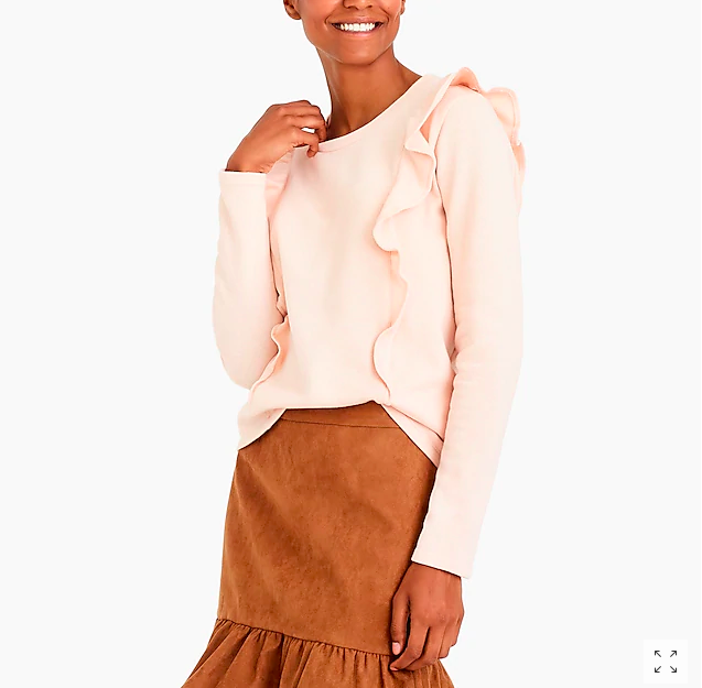 Loved this pink ruffled sweatshirt  and its only $14! Also comes in gray and navy.