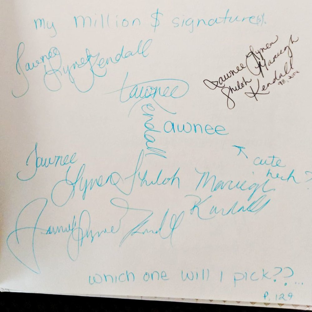 "A collection of practiced ""Million $ signatures"" from my 14 year old self. (P.S. Shiloh Mareigh is not part of my name. I apparently needed the extra ones to be cool.)"