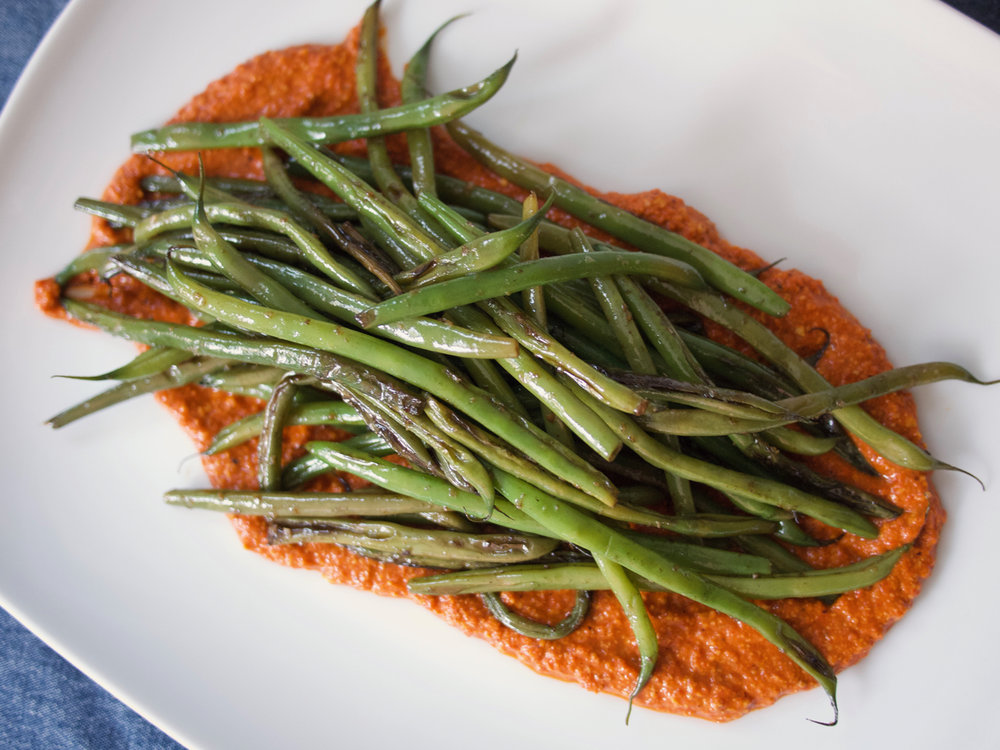 Garlicky Green Beans with Romesco