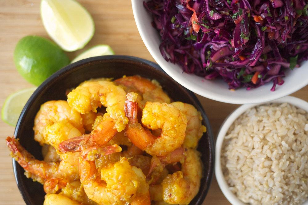 Turmeric Shrimp with Spicy Slaw