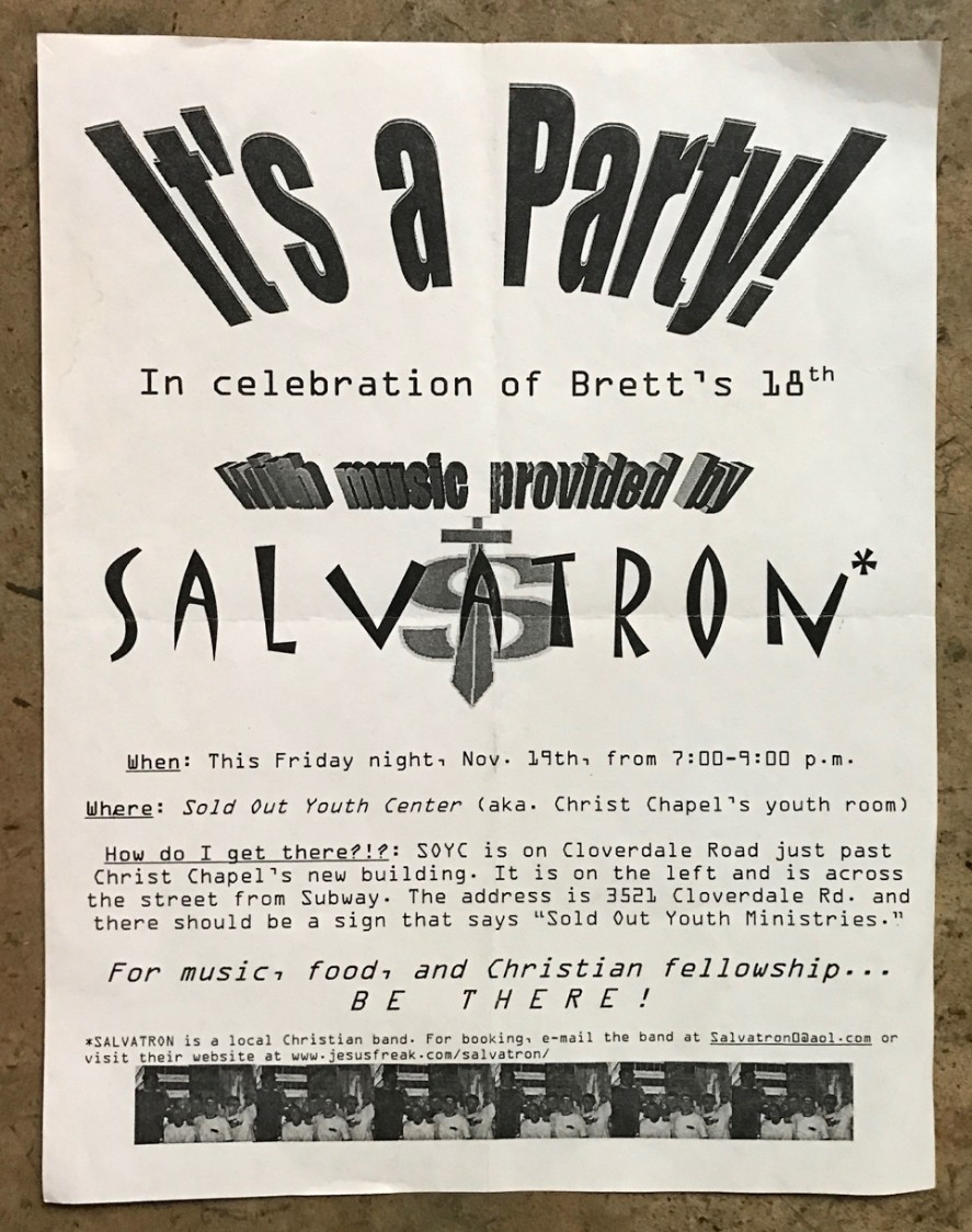 """TRUE STORY : When I turned 18, I booked a local Christian rock band called Salvatron to provide entertainment. Their big hit was """"Serving God in a Blue Jean Generation."""" When they played it, I put a pair of blue jeans on the end of a broomstick and hoisted it in the air.  🤦🏻♂️"""