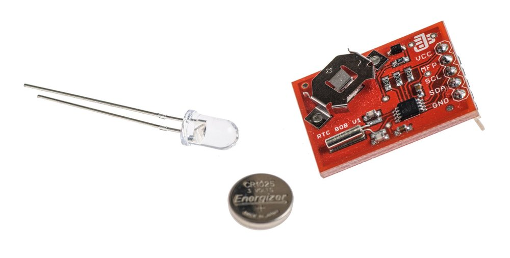 Real time clock with battery and IR LED