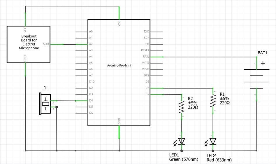 Schematics for the circuit of noise sensor circuit