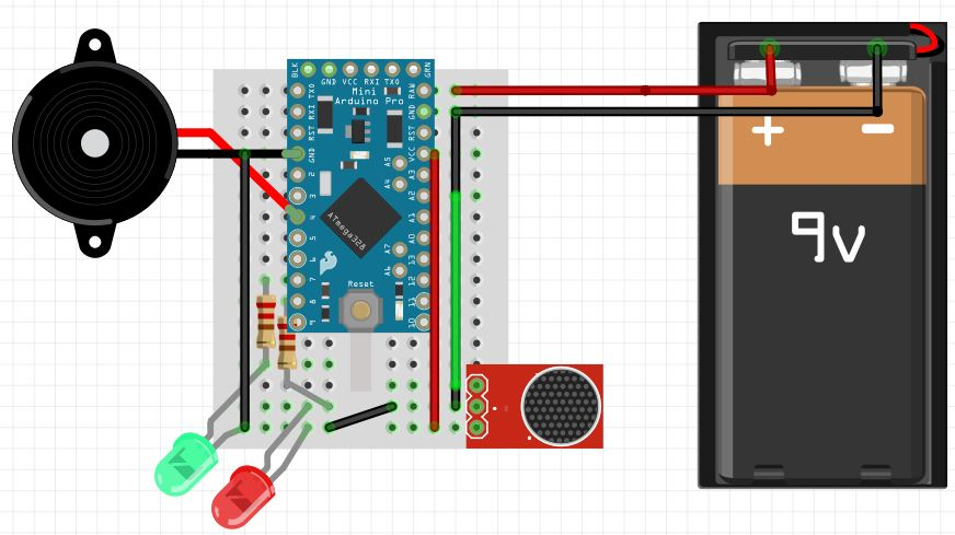 Fritzing schematics of noise sensor circuit