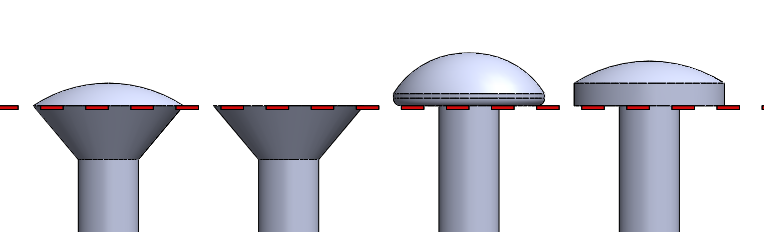Figure 1: oval countersunk head, a flat countersunk head, a round head and a pan head. The red line indicates where the screw will rest on a surface when installed.