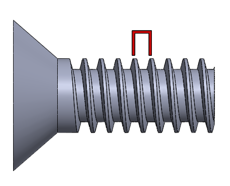 Figure 3: In the metric system, the spacing value represents the distance per thread, measured in millimeters.