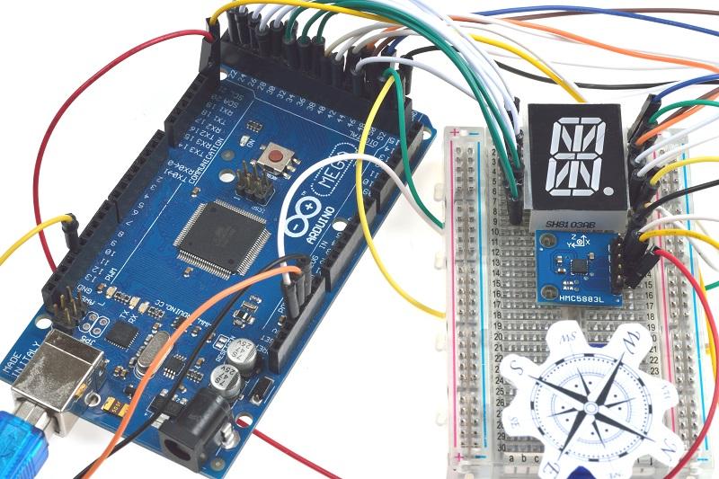 Make a Digital Compass with an LED and Micro Servo | Jaycon