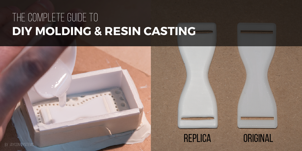 DIY Molding and resin casting mold - image comparing original and replica pieces made from resin casting