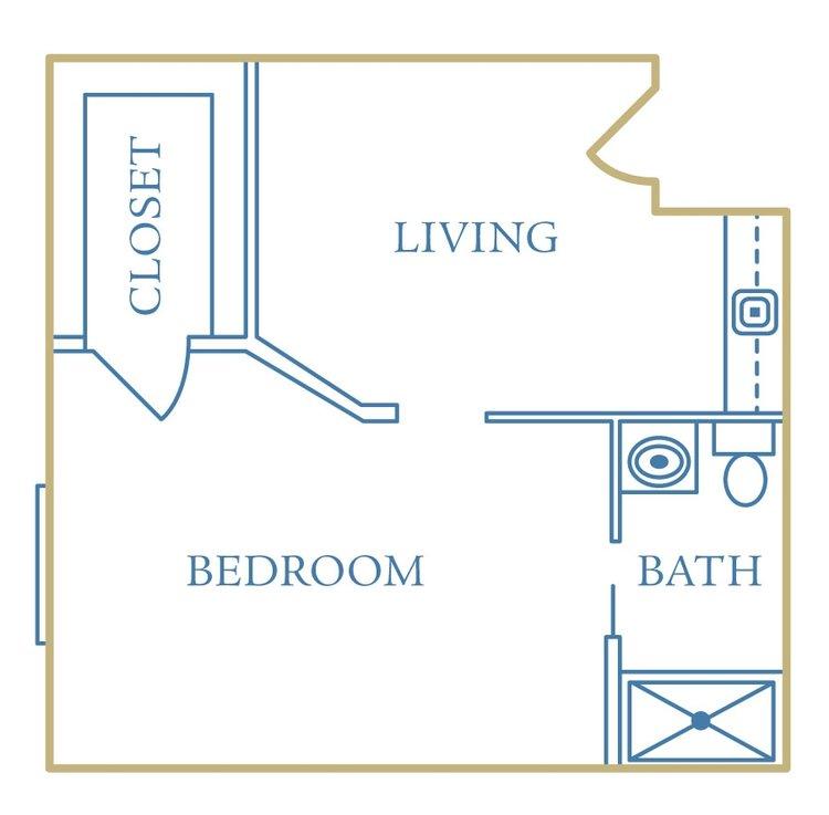 heritage assisted living one bedroom unit floorplan