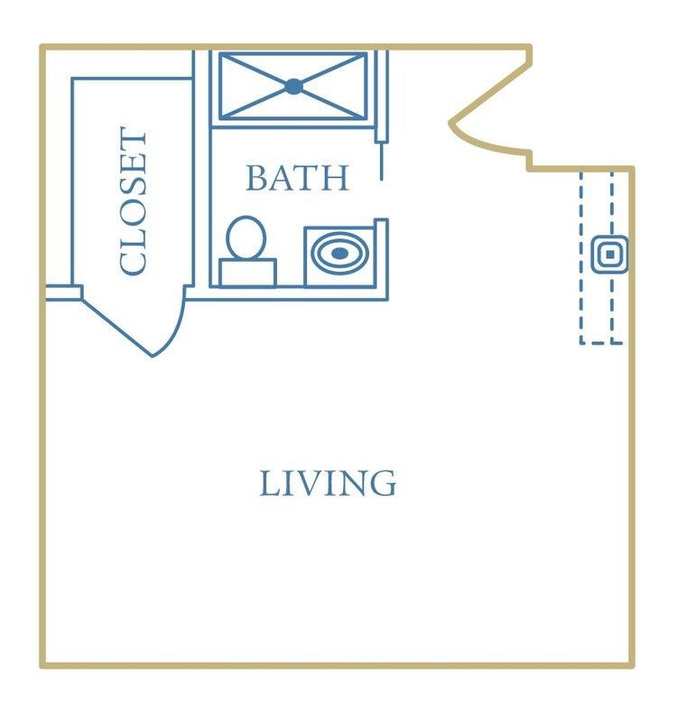 heritage assisted living studio unit floorplan