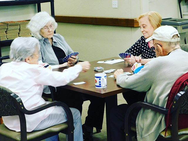 """Everyday at Heritage Assisted Living you will find right after lunch these four best friends. We like to call them our own little """"Card Sharks"""" they play, laugh & love each other! It is in true friendship they share their lives. Just one more reason Heritage Assisted Living is a special place for friendships!"""