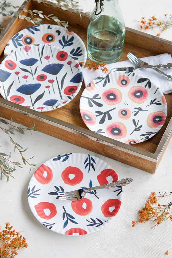 Melamine Dishes featuring Misha's Poppy Design from One Hundred 80 Degrees