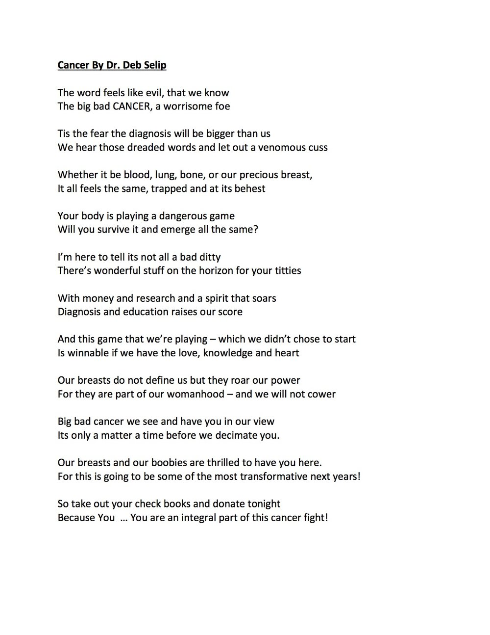 Dr. Deb Selip..... Poetry - Cancer