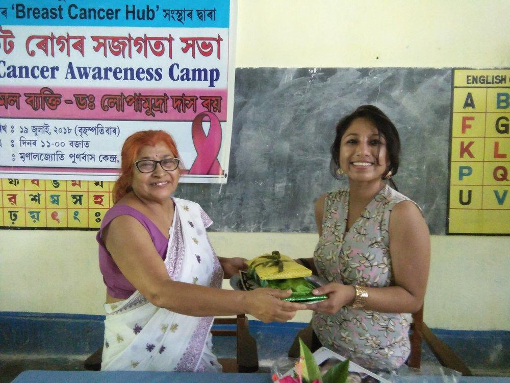 Sincerely thankful to Mrs. Amiya Pathok Borpujari, Secretary & Principal Mrinaljyoti Rehabilitation Centre for the felicitation