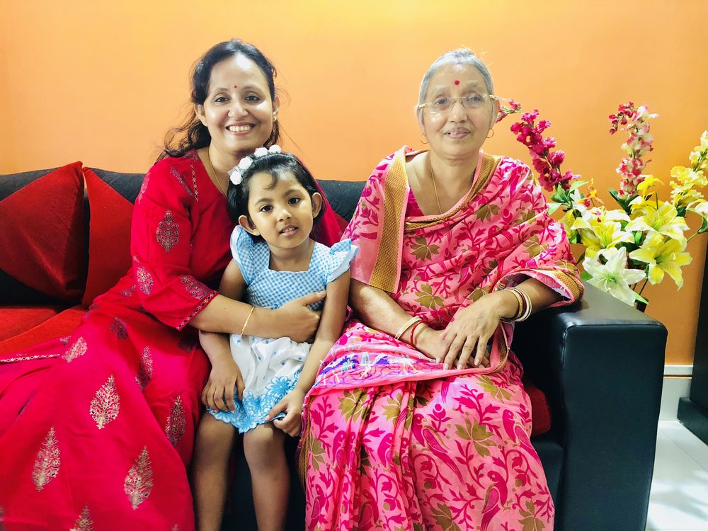 Mrs. Bina Baidya with her loving daughter and grand daughter. It was Mrs. Sieuli Baidya's vigilance that she immediately addressed the situation when her mom (who was not shy to speak up), mentioned about the lump to Sieuli. Mrs. Baidya was diagnosed in October 2017 with Stage II Breast Cancer.