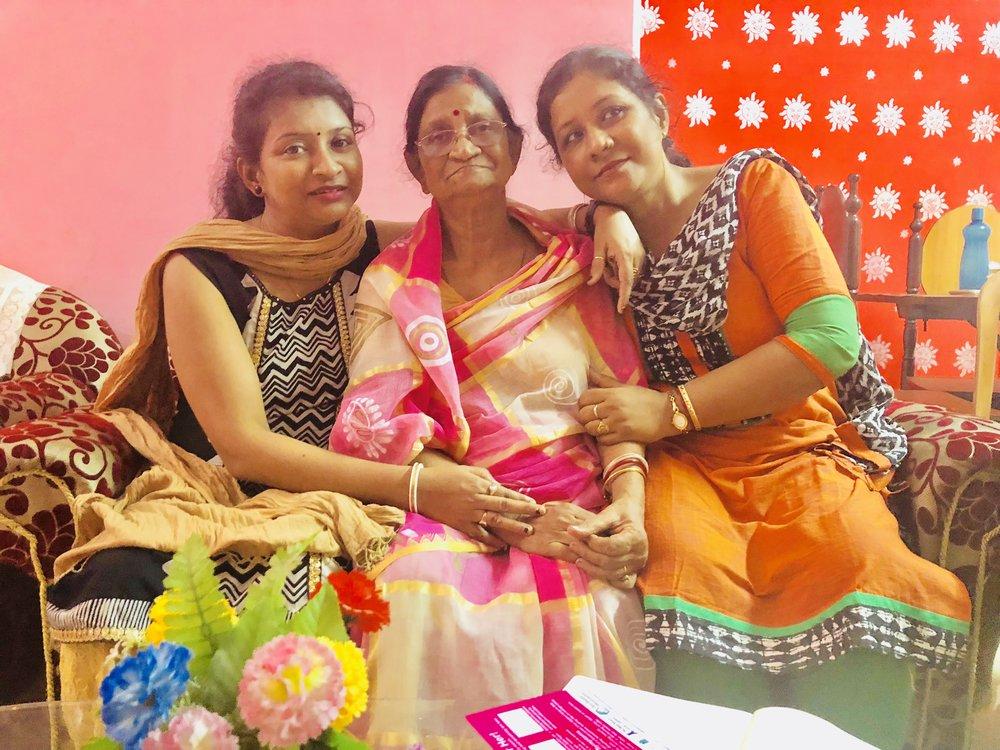 Mrs. Bithika Nag with her wonderful beautiful daughters... Mrs. Barnali Homchoudhury and Mrs. Swarnali Paul! Mrs. Nag's pillars of strength who helped her fight the disease! — with Barnali Naug.