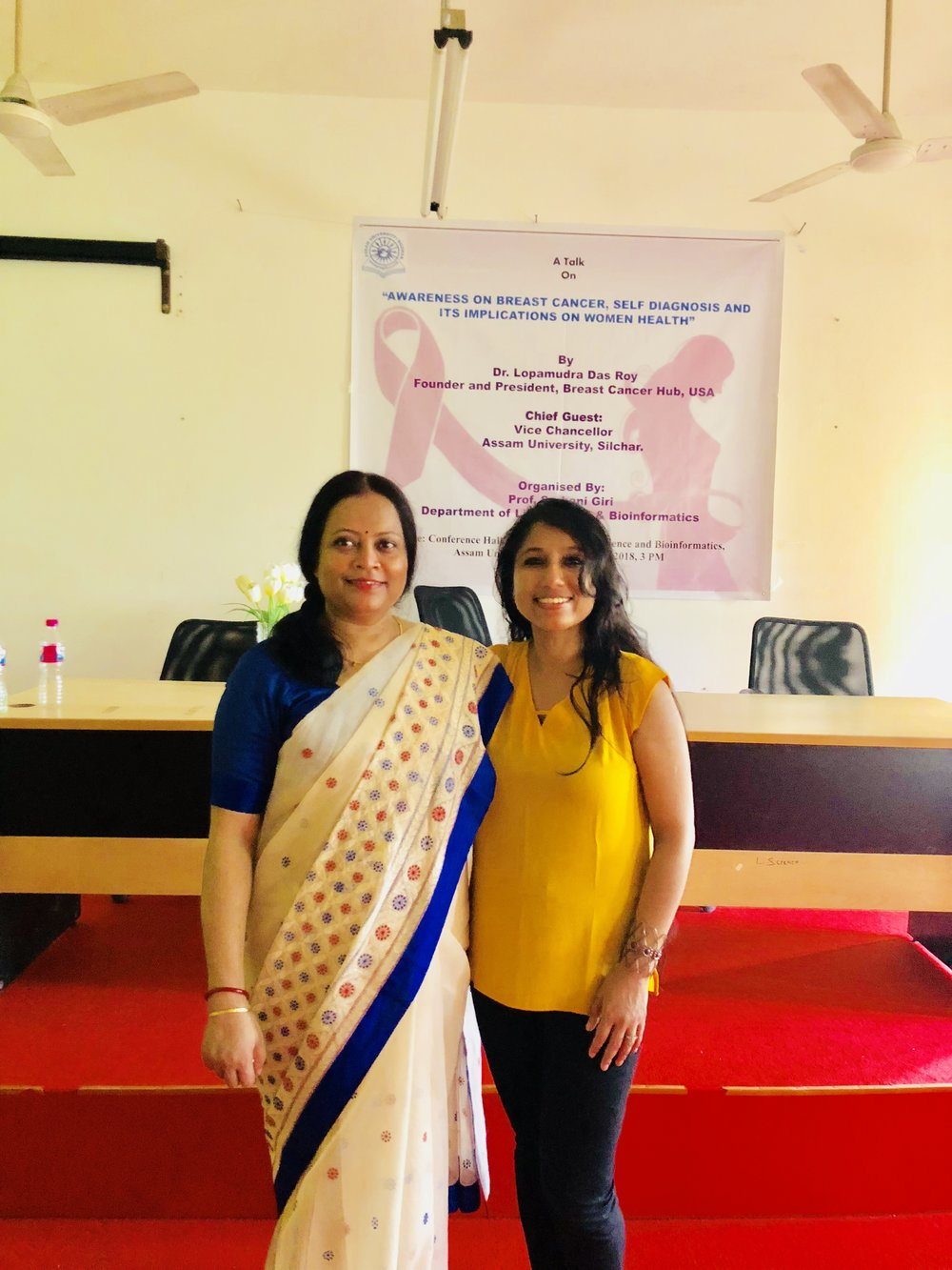 "I was so honored to be invited by my Ph.D mentor, Professor. Sarbani Giri, Department of Life Science & Bioinformatics to give a talk on "" Awareness on Breast Cancer, Self Diagnosis, and its implications on Women Health"". My heartfelt thanks to Dr. Giri for supporting me and the cause and organizing the event"