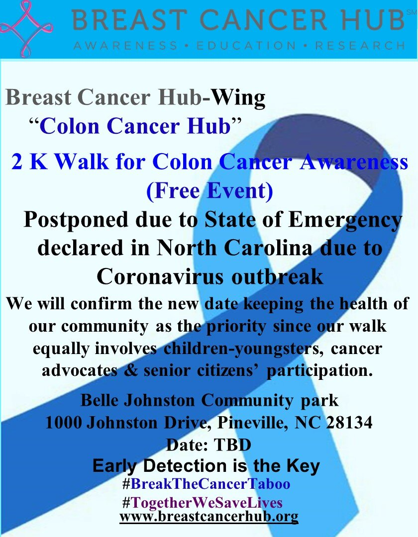 Breast Cancer Hub Wing Colon Cancer Hub 2 K Walk For Colon Cancer Awareness Postponed Breast Cancer Hub