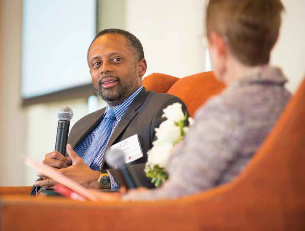 Earl Lewis, then-President of the Andrew Mellon Foundation, spoke with DU's Chancellor Rebecca Chopp at the Barton Institute's Bold Philanthropy event.
