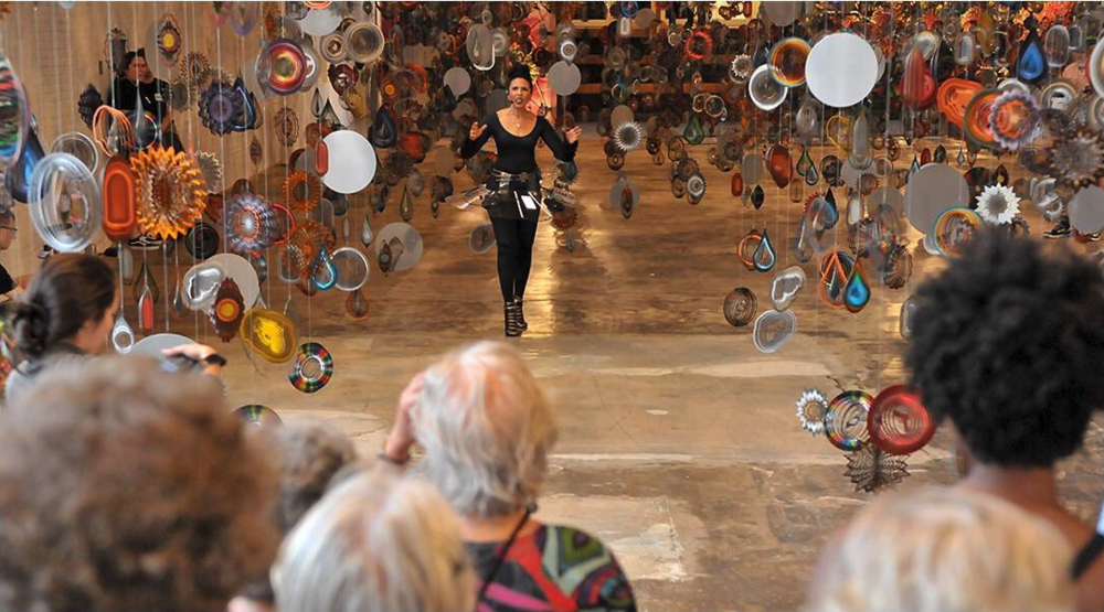 Nick Cave soundsuit performance at Mass Moca, 2017