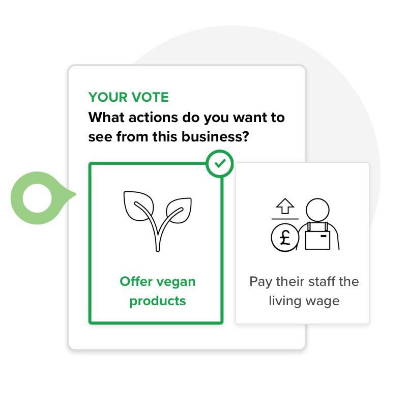 Vote for change - Head to a business' profile to vote for the sustainable actions you want them to tackle next. If you want your local cafe to support BYO cups, this is your chance to tell them.