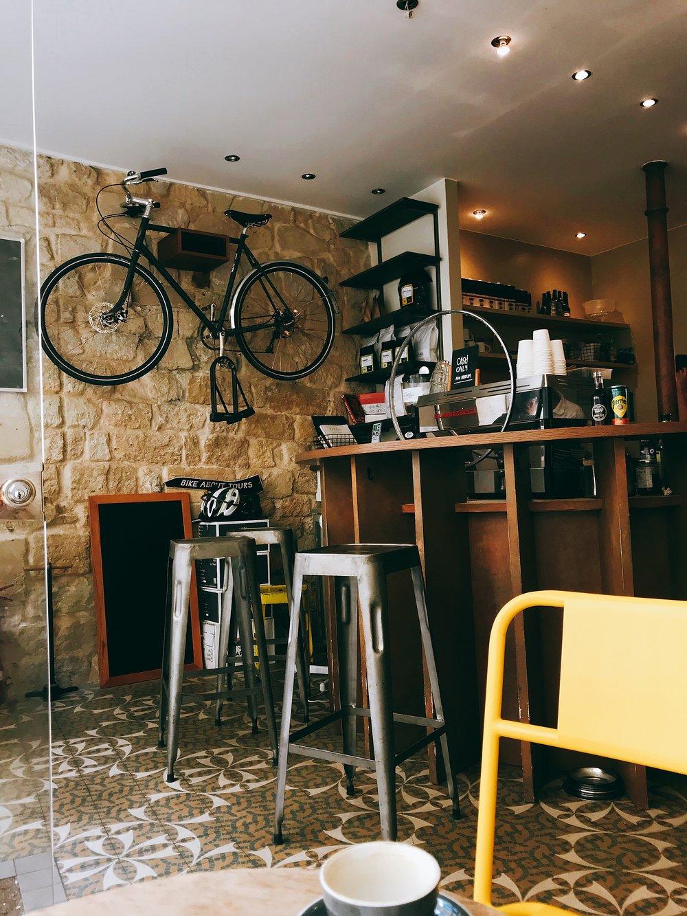 Le Peleton Cafe's interior.