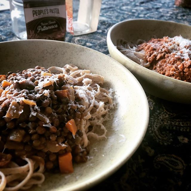 Diversity does dinner @thepeoplespasta : our whole meal linguine two ways.  With a robust Lentil Bolognese, and a traditional Italian Beef & Pork Bolognese using @lauthentique_charcuterie french grind... the latter in @farrofresh late next week, the lentil in final testings... #pastaforall  #local #freshpasta #whatsfordinner