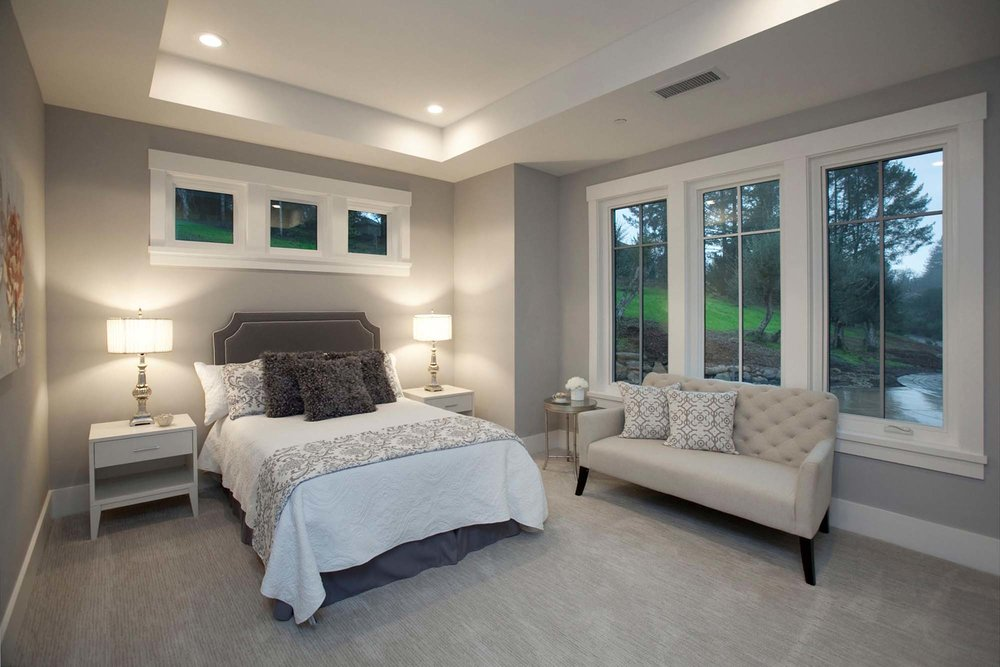 Contemporary Bedroom with two lamp and sofa
