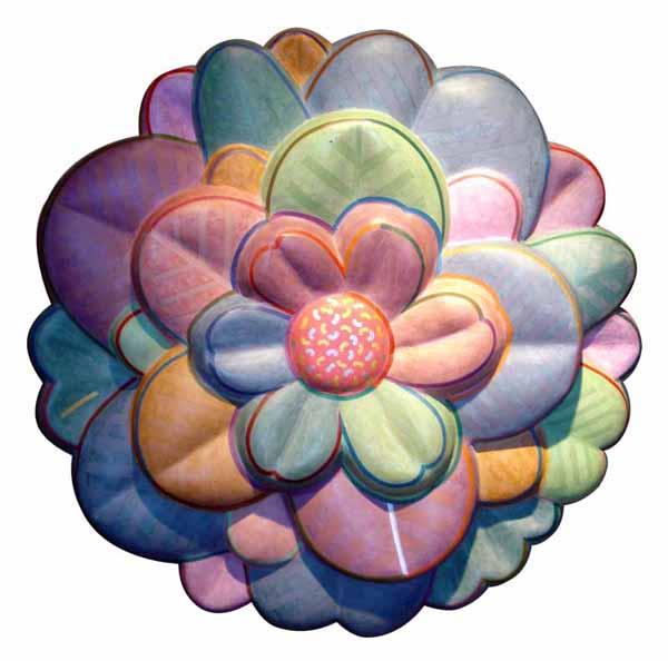 Blossom. Acrylic on papier-mâché, 24 x 24 inches, edition 3/7. Art No. 6807.