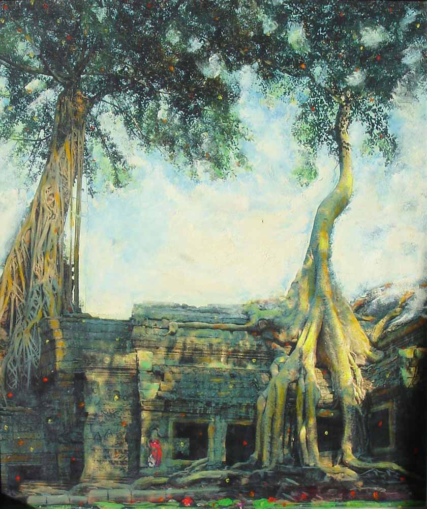 Remembering Cambodia - 1. Acrylic on canvas, 48 x 41 inches. Art No. 2594.