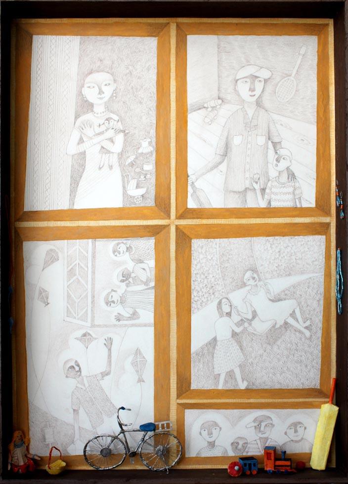 Homage. Mix media, 22 x 15.5 x 2 inches, 2009. Art No. 11060.