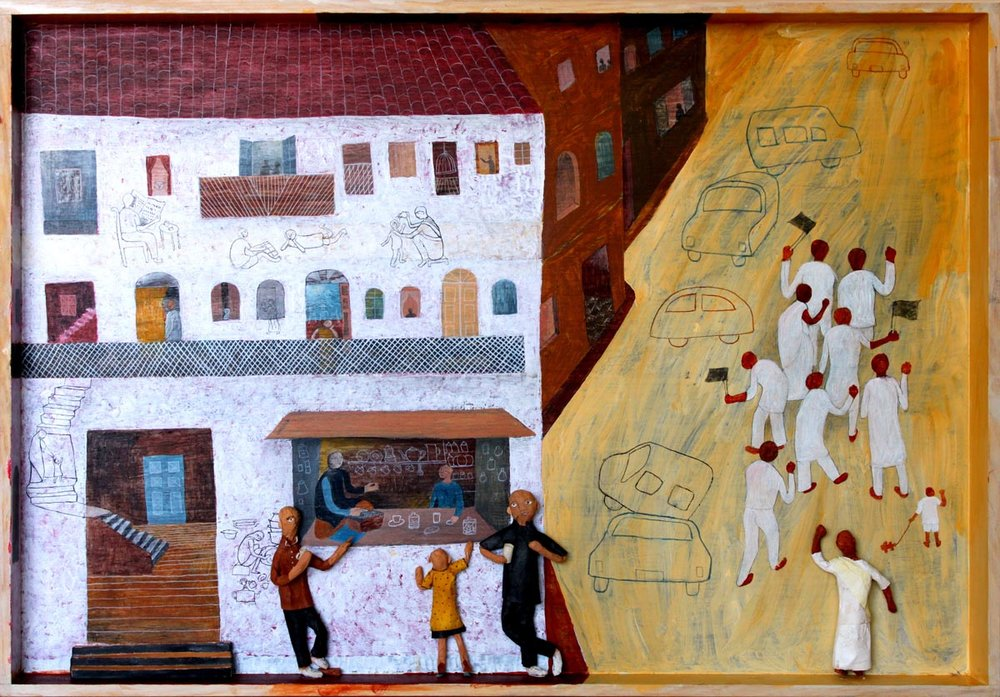Chai Stall at the White House. Mix media, 29.5 x 20.5 x 2 inches, 2012. Art No. 11041.