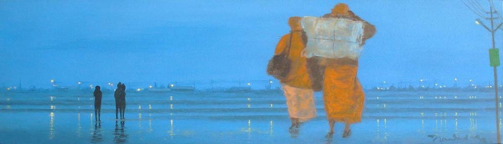 Yaatri - 1. Acrylic on canvas, 7 x 24 inches, 2013. Art No. 11314.