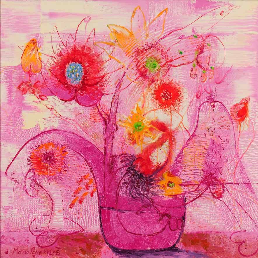 Bouquet of Flowers - Flowers of Peace. Oil on canvas, 40 x 40 inches. Art No. 7618.