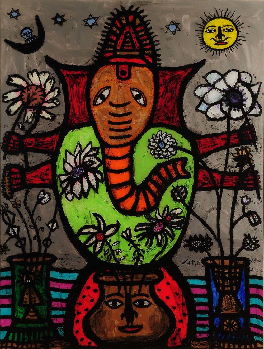 God of Prosperity and Peace. Acrylic on acrylic sheet (reverse painting), 48 x 36 inches. Art No. 7619.