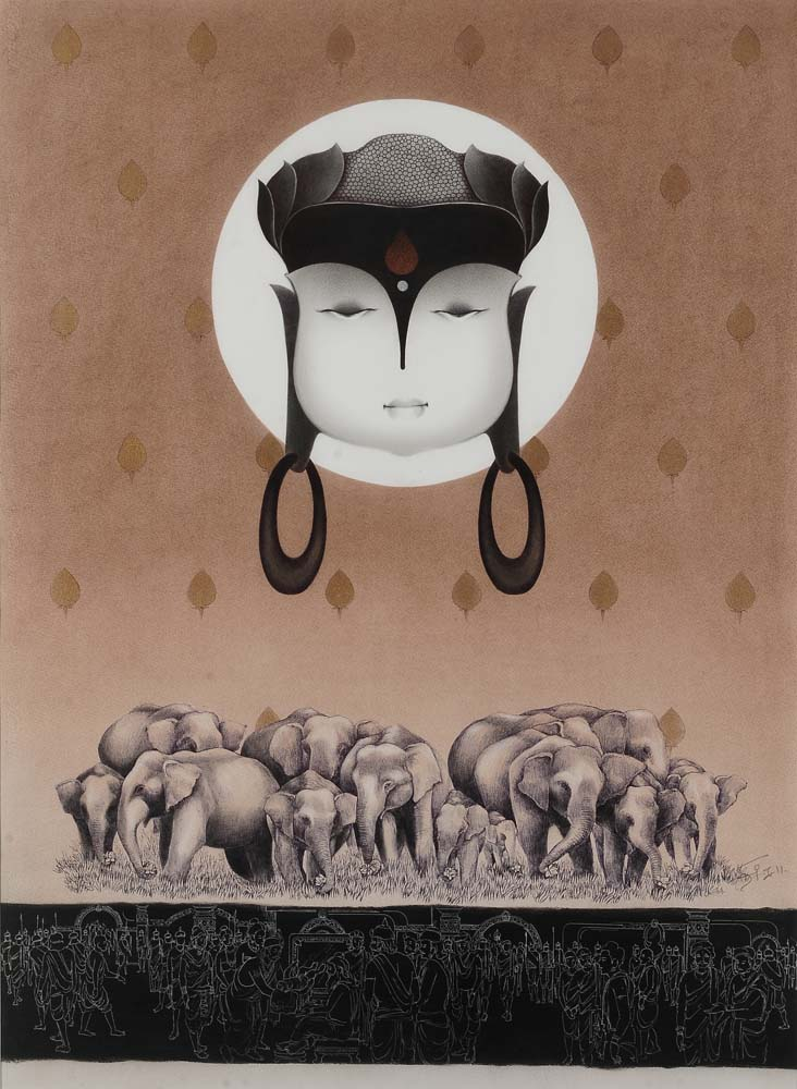 Buddha. Mix media on archival paper, 40 x 29 inches. Art No. 10261.