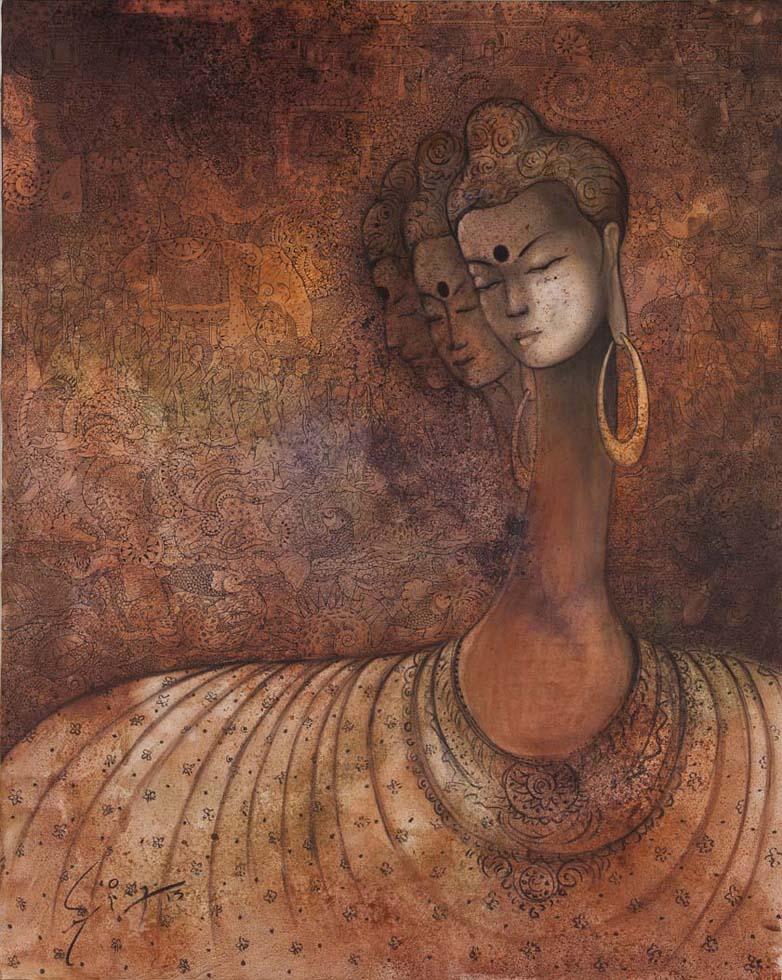 Buddha. Mix media on canvas, 60 x 48 inches. Art No. 12250.