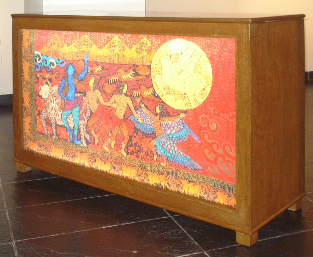 Art Furniture. Print on fabric in backlit glass with wooden framed box. 34.5 x 52 x 18 inches. Art No. 11379.