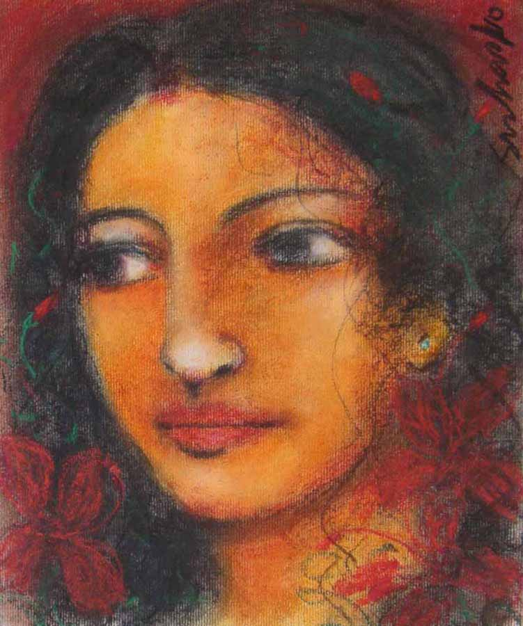 Radha - 2. Mixed media on paper, 12 x 10 inches. Art No. 8502.
