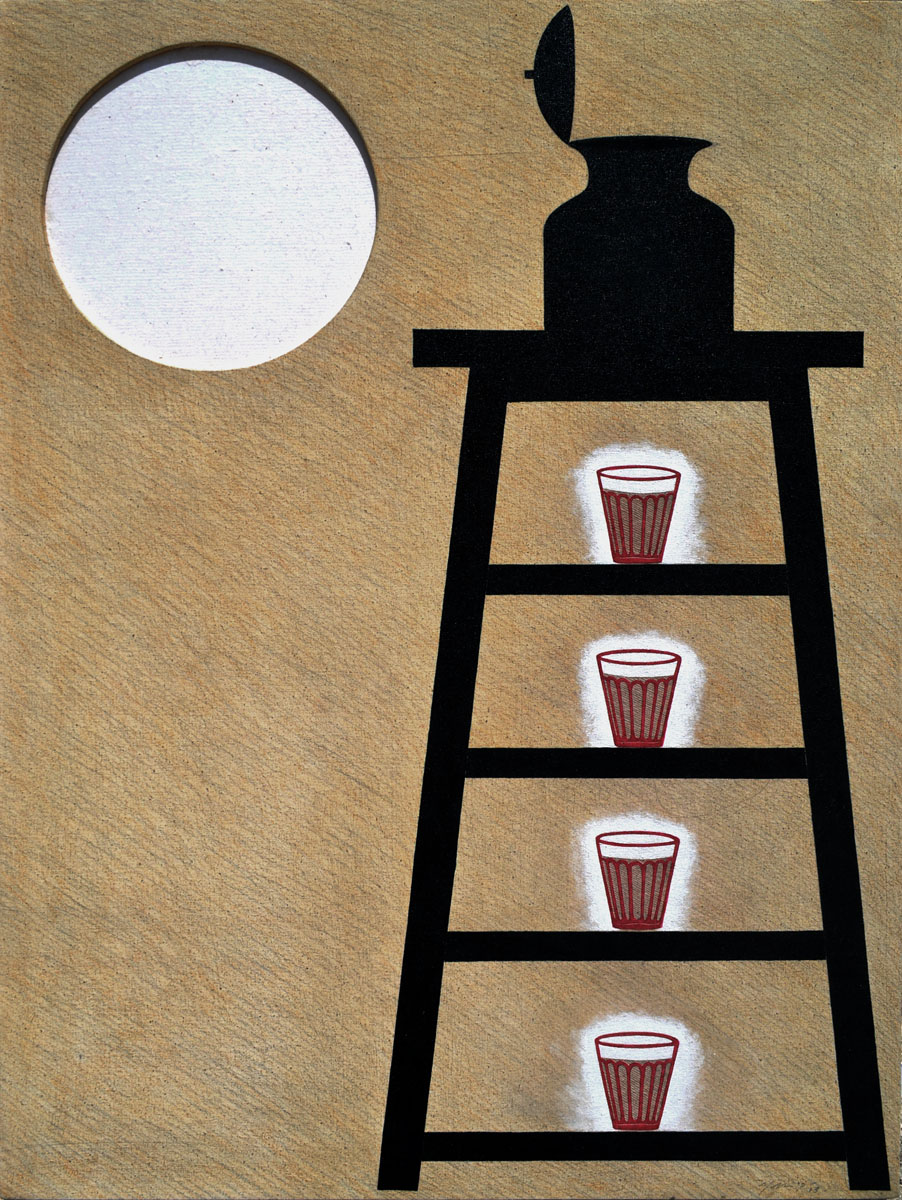 Morning Tea. Acrylic and paper on hand made canvas, 30 x 22 inches. Art No. 12872.